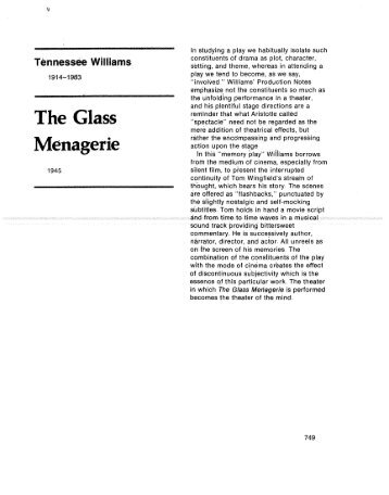 my opinion on the glass menagerie The glass menagerie teacher resource guide by nicole kempskie  this  resource guide has been created to help prepare your students to see the glass  menagerie we also hope to direct you  with each other in your opinion, is.