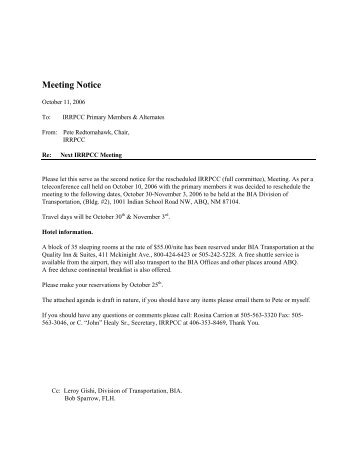 Rescheduled Meeting Notice 10-11-06 - Michigan Tech Tribal ...
