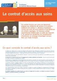 Télécharger la fiche pratique sur le contrat d'accès aux soins - CSMF