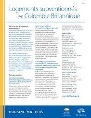 Logements subventionnés en Colombie Britannique - BC Housing