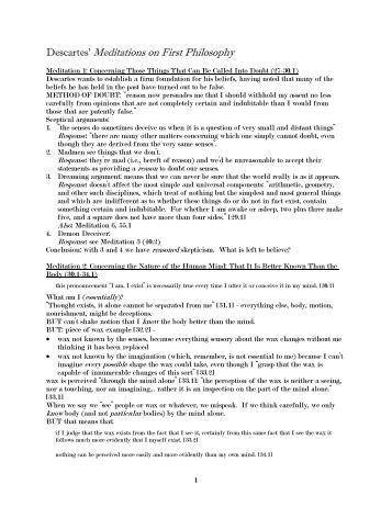 descartes meditations on first philosophy essays First essay assignment question: meditation on first philosophy it can be seen that descartes meditations on first philosophy raised a lot of questions.