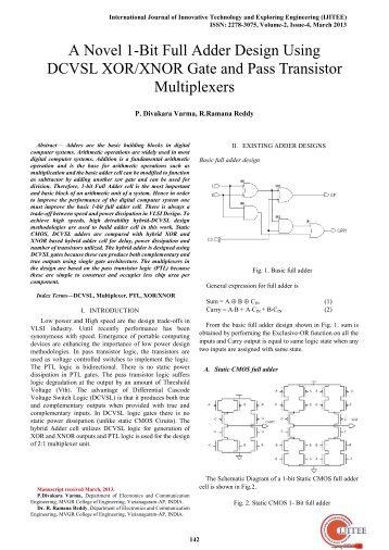 A Novel 1-Bit Full Adder Design Using DCVSL XOR/XNOR Gate and ...