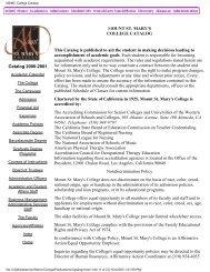 MSMC College Catalog - Mount St. Mary's College