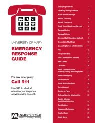 EMERGENCY RESPONSE GUIDE Call 911 - University of Mary