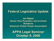 Federal Legislative Update APPA Legal Seminar October 8, 2006