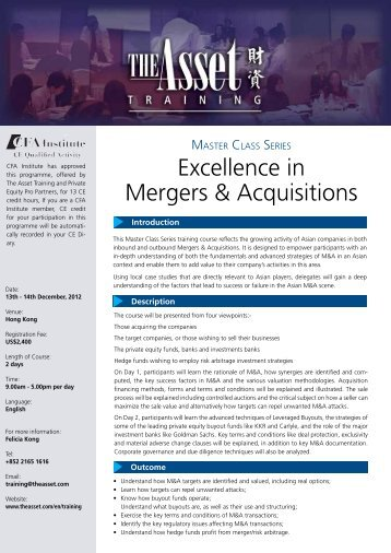 Excellence in Mergers & Acquisitions - The Asset