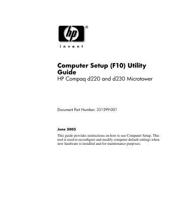 Computer Setup (F10) Utility Guide