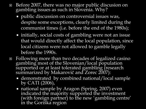 Gambling in Slovenian public Discourse - European Association for ...