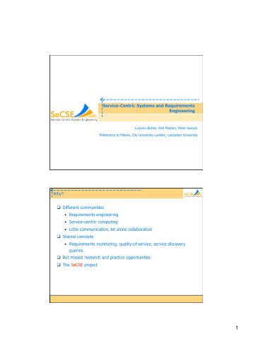 Service-Centric Systems and Requirements Engineering Why ... - UPC