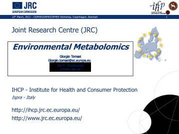 Environmental Metabolomics - Giorgio Tomasi - COPHES