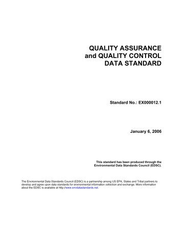QUALITY ASSURANCE and QUALITY CONTROL DATA STANDARD