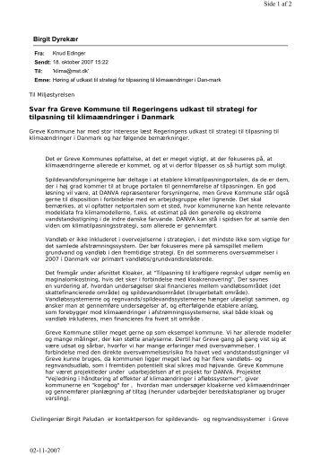 Høringsvar af udkast til strategi for tilpasning til ... - Greve Kommune
