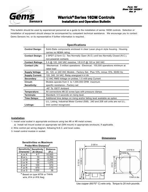 Series 16DM - Pressure Switch Instruments - Gems Sensors | Gem Sensors Wiring Diagrams |  | Yumpu