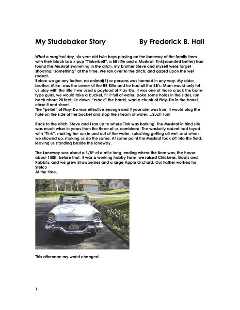 My Studebaker Story By Frederick B. Hall - Studebaker Drivers Club ...