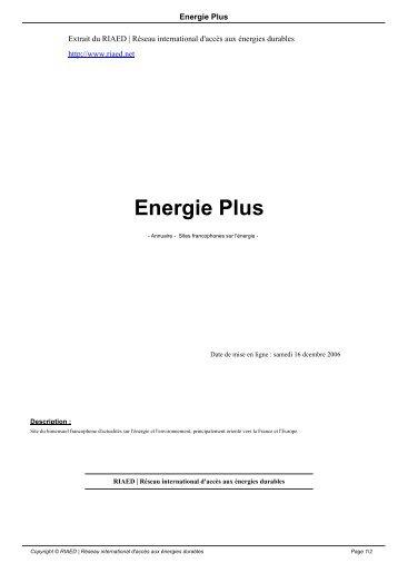 Energie Plus - RIAED   Réseau international d'accès aux énergies ...
