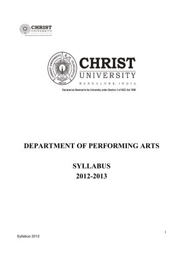 Download Performing Arts syllabus 2012 here - Christ University