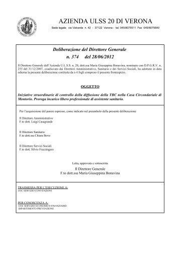 Deliberazione del Direttore Generale n. 374 del ... - ULSS 20 Verona