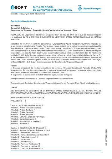 butlletí oficial de la província de tarragona - CCOO de Catalunya