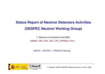 Status Report of Neutron Detectors Activities (DESPEC Neutron ...