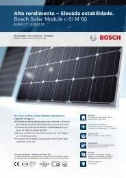 Alto rendimento – Elevada estabilidade. Bosch Solar Module c-Si M ...