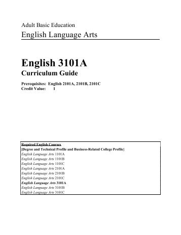 English 3101A - Department of Advanced Education and Skills