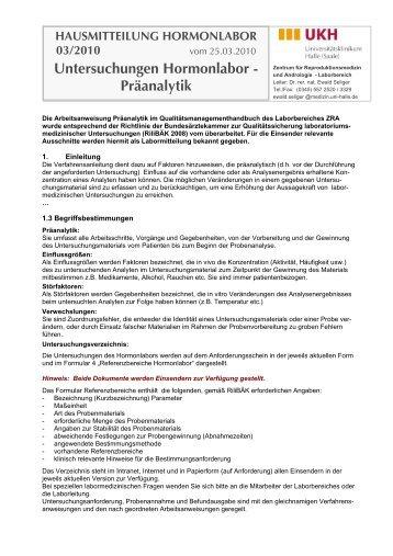 Veröffentlichung der präanalytischen Prämissen des Hormonlabors
