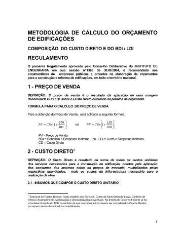 METODOLOGIA DE CÁLCULO DO ORÇAMENTO ... - Sinduscon-PR
