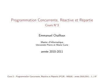 Programmation Concurrente, Réactive et Répartie