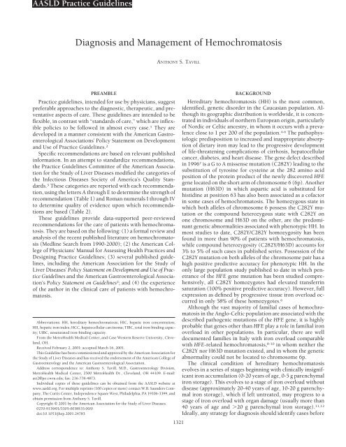 Diagnosis and Management of Hemochromatosis - AASLD
