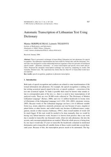 Automatic Transcription of Lithuanian Text Using Dictionary