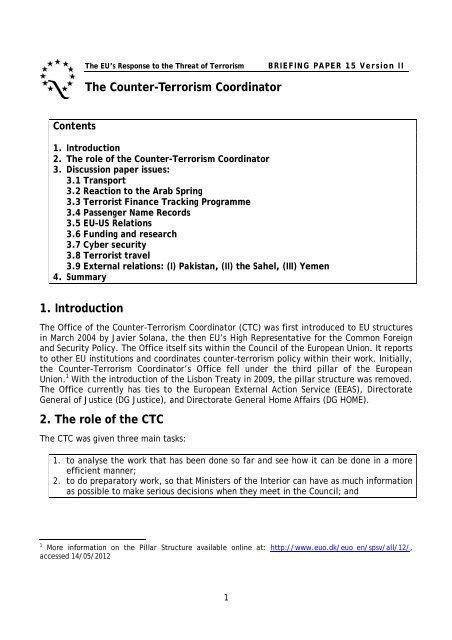 The Counter-Terrorism Coordinator - Quaker Council for European ...