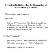 Technical Guidelines for the Generation of Water Quality Criteria§