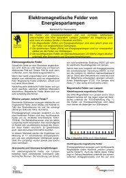 Elektromagnetische Felder von Energiesparlampen - news.admin.ch
