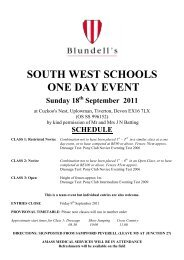 south west schools one day event 2011 entry form - Blundell's School