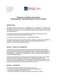 Règlement du Diplôme Universitaire - Faculté de Médecine de ...