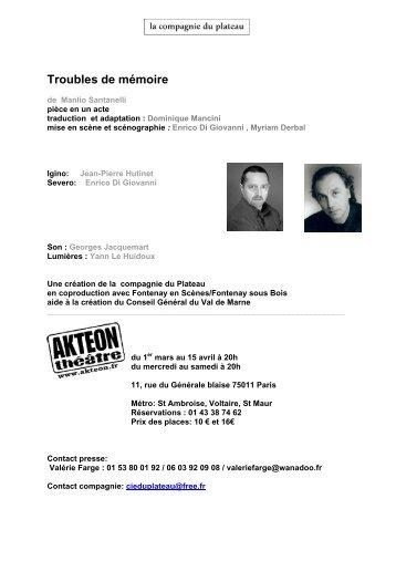 Troubles de mémoire - Theatre-contemporain.net