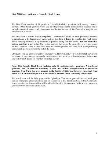 Stat 2000 International – Sample Final Exam