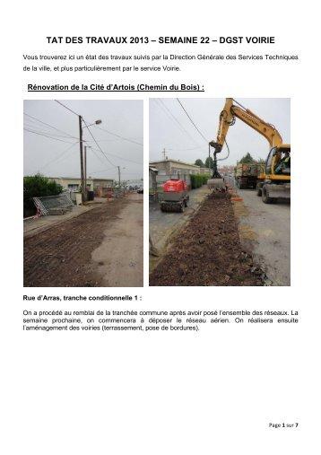 DGST Voiries - état travaux semaine 22 - Ville de Harnes