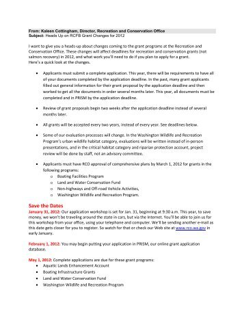 important information on grant changes for 2012