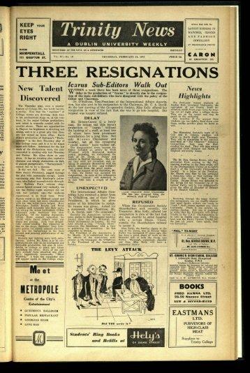 THREE RESIGN,kTIONS - Trinity News Archive