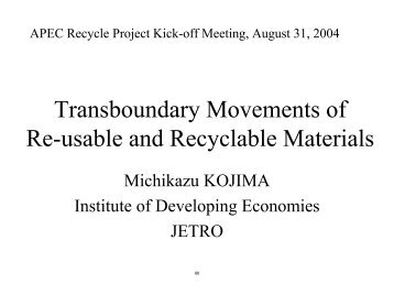 Transboundary Movement of Re-usable and Recyclable Material