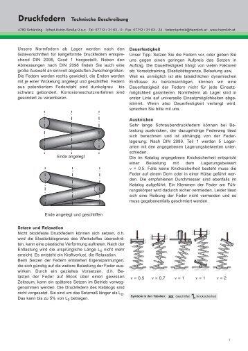 Druckfedern Technische Beschreibung