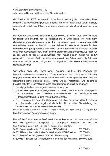 2003 - Freie Wähler Stockstadt