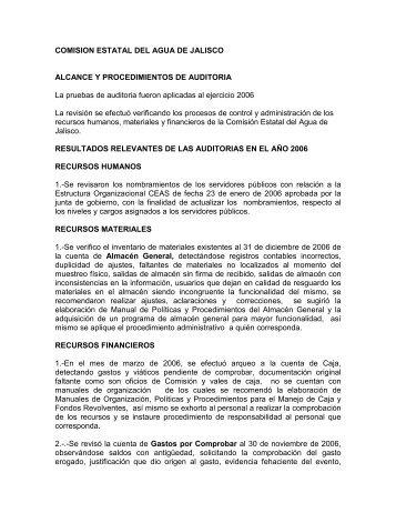 Resultado de auditorías, agosto 2007 - Comisión Estatal del Agua ...