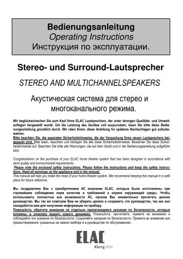 Stereo- und Surround-Lautsprecher STEREO AND ... - Elac