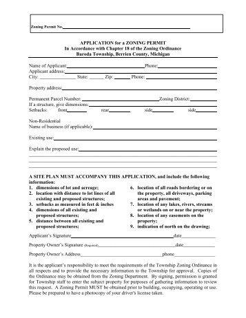 Baroda Township Mechanical Permit Application