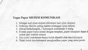 """ Tugas Paper SISTEM KOMUNIKASI"