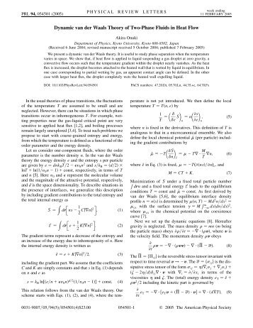 Dynamic van der Waals Theory of Two-Phase Fluids in Heat Flow
