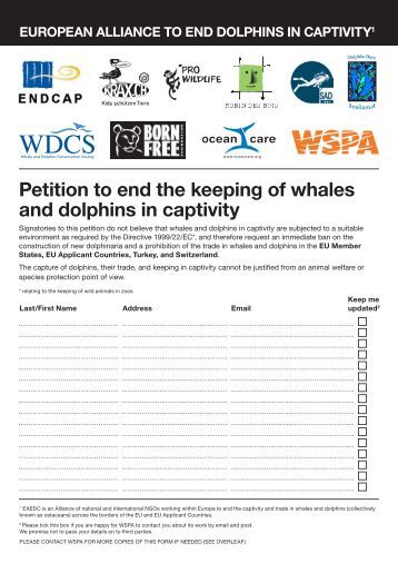 Petition to end the keeping of whales and dolphins in captivity - WSPA