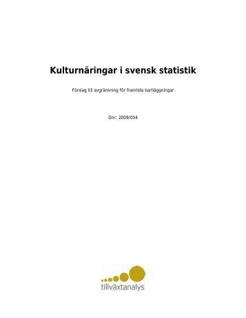 Kulturnäringar i svensk statistik - Kulturekonomi